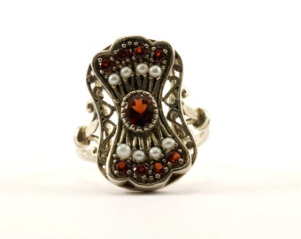 Vintage Women's Red Color Crystal Ring 925 Sterling RG 403-E