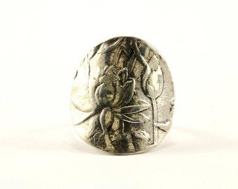 Vintage Flower Design Ring 925 Sterling RG 2459