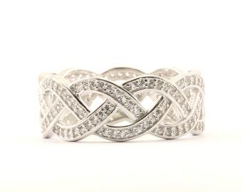 Vintage Braided Design Crystal Band Ring 925 Sterling RG 749