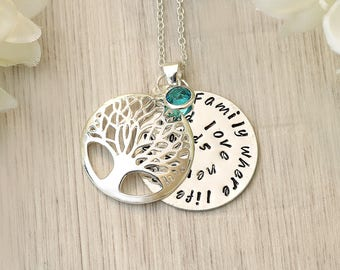 Birthstone Family Tree Necklace - Name necklace - Gift for her - Birthstone necklace - Necklace Family Gift - Family tree necklace -