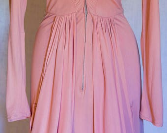Fabulous 1940s Herbert Sondheim by Troy Stix Pink Jersey Gown with Incredible Details, Would Make a Beautiful Wedding Gown Too