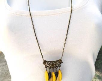 "sequin necklace ""yellow lemon/bronze/blue"" chic and trendy"