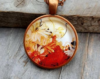 Flower Necklace, Spring Fashion, Summer Fashion, Unique Jewelry, Flower Jewelry, Gift for Her, Antique Copper, Colorful Jewelry
