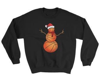 Funny Christmas Switshirt for Basketball Lovers Funny Christmas Basketball Santa Snowman Sweatshirt