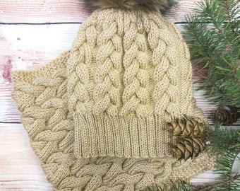 Knitting for adult, nice and warm hat and round scarf for winter