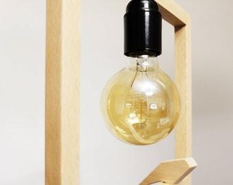 Suspension - Bird perch-bird lamp in beech wood - edison bulb