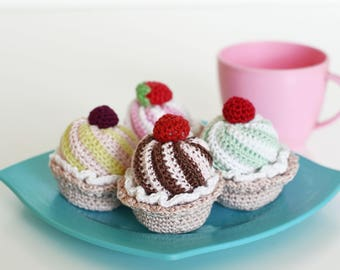 Toy cake Crocheted cupcakes summer party Play food tiny muffins knitted sweets dessert amigurumi crochet cookies eco-friendly gift for girl