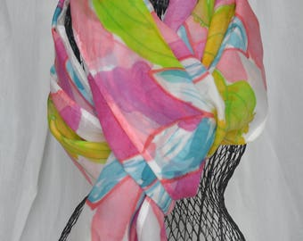 Infinity Silk Scarf, hand-painted, pink, blue floral, 21x76 inches
