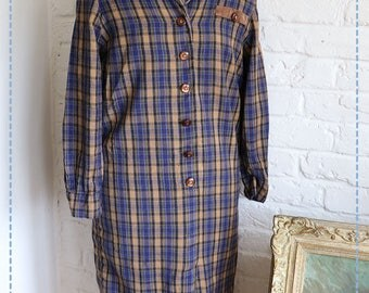 Long Navy Tartan Shirt Dress , by Schneberger