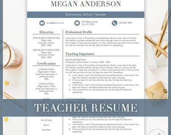 Teacher Resume Template, CV Template For MS Word, Creative Resume, Professional  Resume Design  Professional Teaching Resume