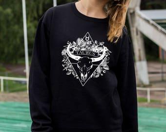 Screen printed Taurus zodiac sweatshirt