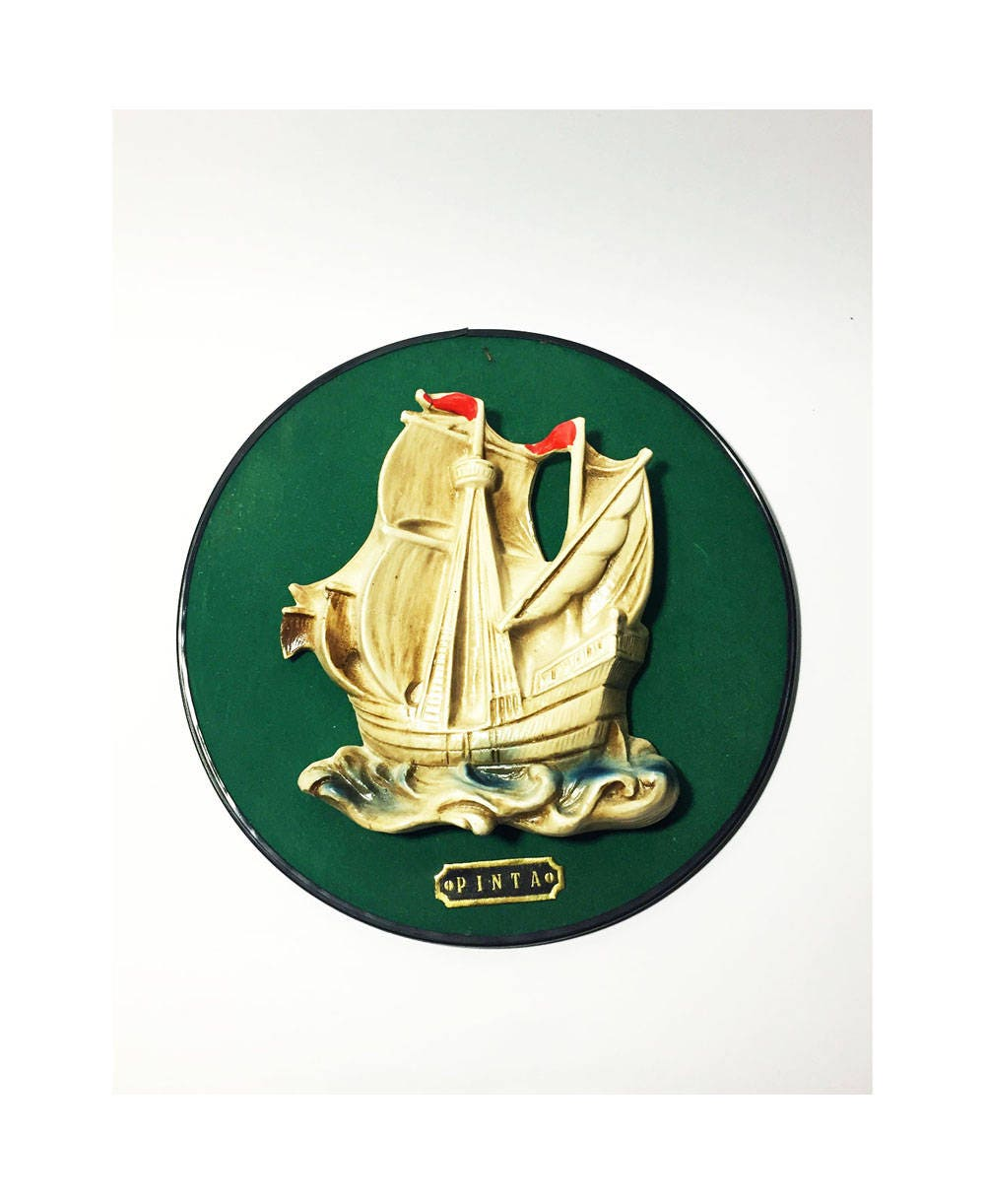 Vintage Ship Chalkware on Green Velvet Background, Wall Art Decor ...