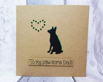 Alsatian birthday card for Dad, German Shepherd Dog card, Handmade dog card, Happy Birthday card, Funny card for him, Father's Day card