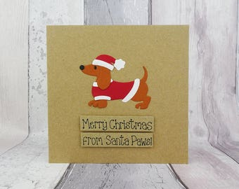 Sausage Dog Christmas card, Handmade Dachshund pun card, Funny Christmas card, Santa hat, Dog lover, Card from the dog, Fun Xmas card, Kraft