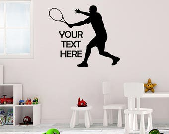 Personalised Tennis Sticker Vinyl Stickers Decals Art Home Decor Mural Lettering Wall Decal Bedroom