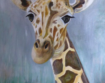 Giraffe painting, original artwork, oil on stretched canvas.