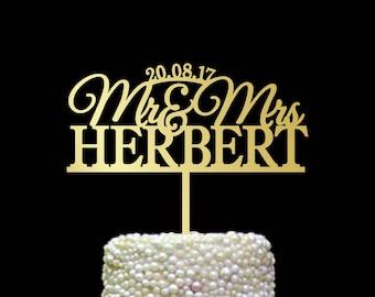 Last Name Cake Topper, Surname Cake Topper, Mr and Mrs Cake Topper with date, Custom Cake Toppers for Wedding, Cake Topper Gold, CT#171