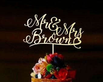 Surname Cake Topper, Custom Wedding Cake Topper, Personalized Cake Toppers, Mr and Mrs Cake Topper Gold, Gold Cake Topper, Silver, CT#061