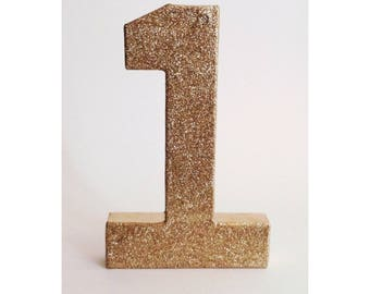 Glitter Number 1, Gold Numbers, Gold First Birthday
