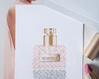 Printed copy of my Valentino perfume illustration.