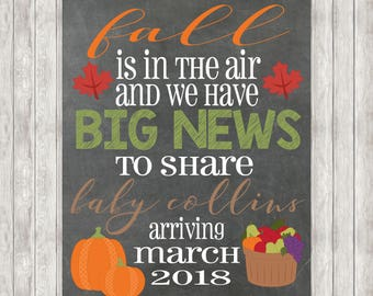 DIGITAL Fall Pregnancy Announcement | Seasonal | Autumn | Baby Announcement | Pregnant | Pumpkins