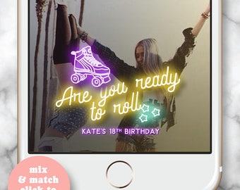 Roller Skate Party Snapchat Filter * Snapchat Filter 30th Birthday 21st Birthday Geofilter Happy Snapchat Filter Birthday Roller Disco Bday
