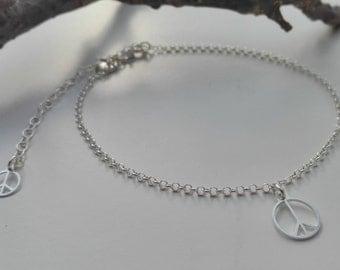 Hippie anklet 925 sterling silver PEACE charm, boho, bohemian jewelry, ankle bracelet