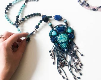 Bead embroidered pendant necklace, bead embroidered necklace with lazurite, unique jewelry, pendant necklace, beaded necklace, bead jewelry