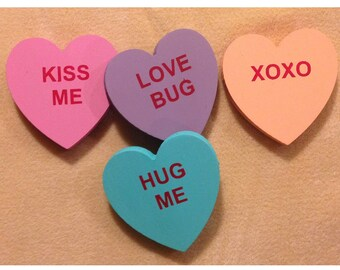 Candy Hearts Made Of Wood, Wooden Conversation Hearts, DIY Wooden  Conversation Heart Set Of