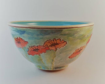 Ceramic wheel thrown and hand painted bowl in watercolor style with poppy flower design