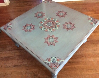 Painted Table, Refinished Coffee Table, Upcycled Furniture,  Boho Table Furniture