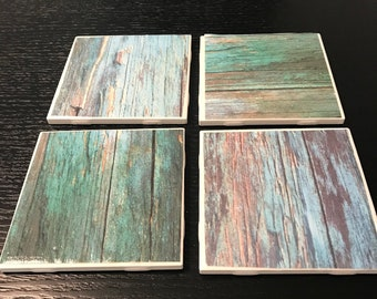 Watercolor wood patterned coasters