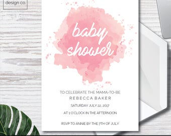 Instant Digital Download - Baby Shower Invitations - Simple Pink Watercolour - Printable - Baby Girl