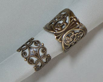 Adjustable Rings Etruscan or Nouveau Style Finished Antiqued Brass Made in USA