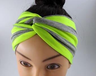 Gray neon yellow striped headband stretchy turban twist headband workout headband fitness striped neon yellow hair accessory yoga headband