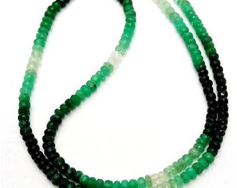 "Natural EMERALD Shaded faceted beads ,3.5 mm - 4 mm Approx ,18""strand [E0502] Emerald beads very good quality"