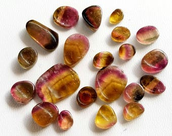 Amazing Natural WATERMELON TOURMALINE Slices,AAA+++ quality,6x8 mm to 16x19 mm,21 pieces,83 ct.Approx,Rare tourmaline gemstone[E3488]