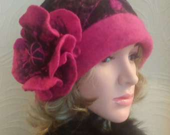 Felted 100% Wool  Handmade Cloche Art Hat .  Brides 1920Hat . Felted Flower.