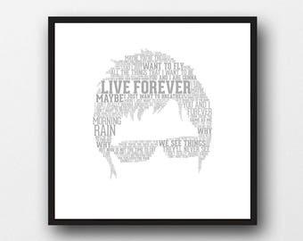 Noel Gallagher Typography Portrait Art Print - Noel Gallagher Lyrics Art