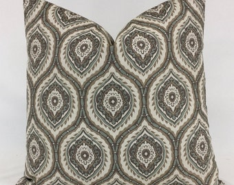 Pillow Cover -  Elegant - Traditional - Cream - Beige - Brown - Aqua -  Pattern - Lined- Zippered
