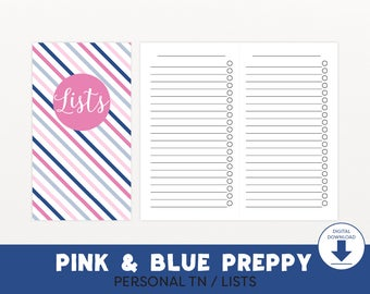 Personal Size Lists Printable TN Inserts, Personal TN Inserts, To-Do Lists, To Do Notebook, TN Refills, Pink and Blue Preppy, HSP002