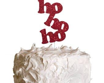 HoHoHo Christmas Cake Topper - Christmas Glittery Dark Pink Cake Topper