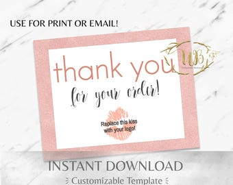 Rose Gold Glitter & White Digital Thank You/Physical Thank You Postcard Template