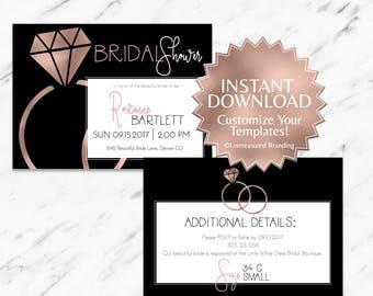 Rose Gold|Black|Bridal Shower Invitation|Printable Bridal Shower|Bridal Shower Invitation Template|Bridal Shower Invite|Instant|Editable