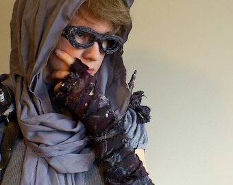 Mad Max Inspired Post-Apocalyptic Single Ragged Fingerless Wrap Elbow Convertible Glove