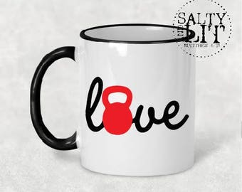kettlebell love mug, love kettlebells, coffee mug, crossfit mug, love coffee mug, crossfit coffee mug, crossfit gift, coffee mug gift