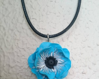 Fleur Pivoine turquoise clay polymer on black waxed cotton necklace.