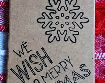 Brand New Hand-Printed Festive Merry Christmas Snowflake Gift Tags Set of Ten
