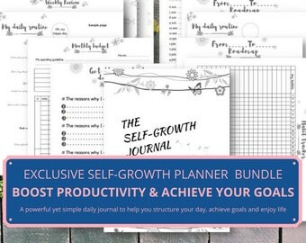 The Self Growth Journal,  goal planner, goal setting, goal planning, life planner bundle, inserts goal planner A5, goal plan,  A5 A4 US