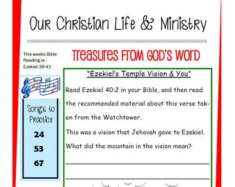 Kids OCLAM August 28 - Sept 3  Prestudy Sheet Our Christian Life & Ministry JW Jehovah's Witnesses Homeschool Family Worship